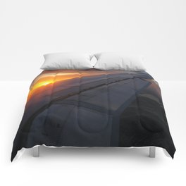 Airliner Wing at Sunset Comforters