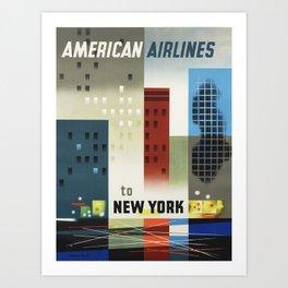 Vintage Travel Poster - American Airlines Art Print