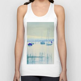 Sailing in soft blue Unisex Tank Top