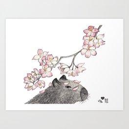 Capybara and petals Art Print