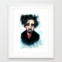 tim burton Framed Art Prints featuring Tim Burton by Grant Hunter