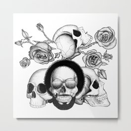 Grunge skulls and roses (afro skull included. Black and white version) Metal Print