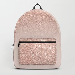 Rose gold faux glitter pink ombre color block Rucksack