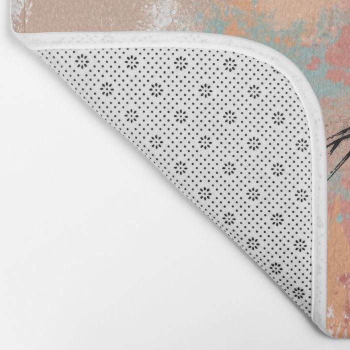 Unrestrained, Abstract Art Brushstrokes Bath Mat
