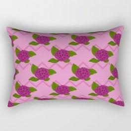 Free Speech Magenta Vintage Floral Illustration Of Hydrangea Flowers And Zigzag Stripes Rectangular Pillow