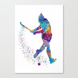 Girl Field Hockey Watercolor Print Field Hockey Gift Sports Poster Home Decor Girl's Room Decor Canvas Print