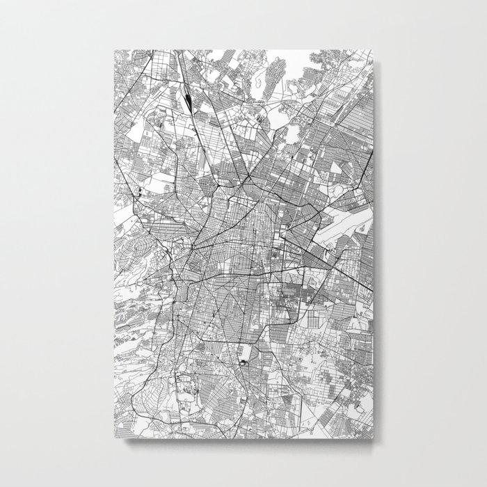 Mexico City White Map Metal Print