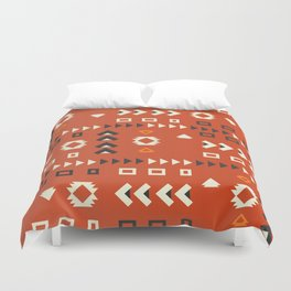 American native shapes in red Duvet Cover