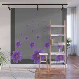 PURPLE FLOWERS COLLAGE CHARCOAL GREY Wall Mural