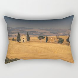 Small Church in Tuscany at sunset Rectangular Pillow