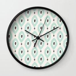 Bohemian Ikat - Dark gray, light blue and cream pattern Wall Clock