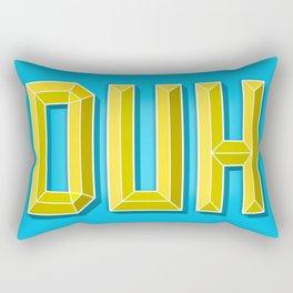 """""""DUH"""" 3D Letters (Light Blue, Yellow) Rectangular Pillow"""