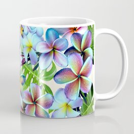 Rainbow Plumeria Pattern Coffee Mug