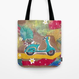 You are my Greatest Adventure - Turquoise Vespa  Tote Bag
