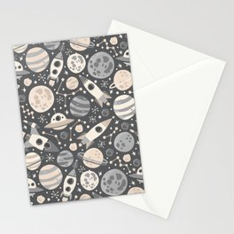 Space Black & White Stationery Cards