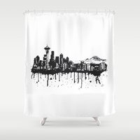 seattle Shower Curtains featuring Seattle. by Dioptri Art