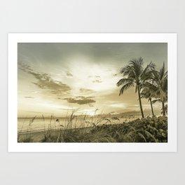 BONITA BEACH Sunset   Vintage Art Print