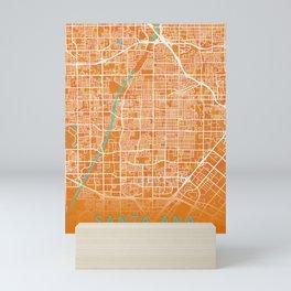 Santa Ana, CA, USA, Gold, Blue, City, Map Mini Art Print