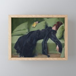 A DECADENT GIRL - RAMON CASAS Framed Mini Art Print