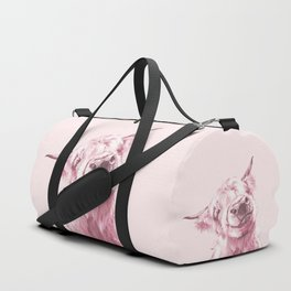 Highland Cow in Pink Duffle Bag