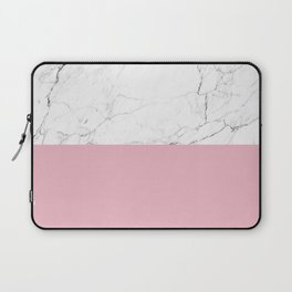 blush pink and white marble color block Laptop Sleeve