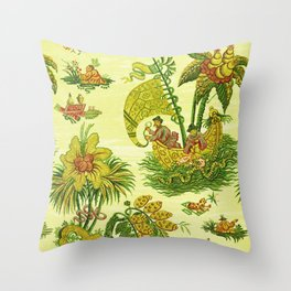 Chartreuse Chinoiserie Throw Pillow