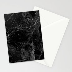 Real Black Marble Stationery Cards