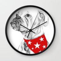 boxer Wall Clocks featuring Boxer by Natasha Maiklem
