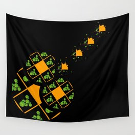 Orange and Green Spaces 110 Wall Tapestry