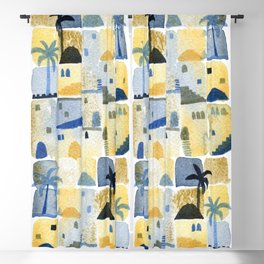 Morning Middle Eastern Town Watercolor Blackout Curtain
