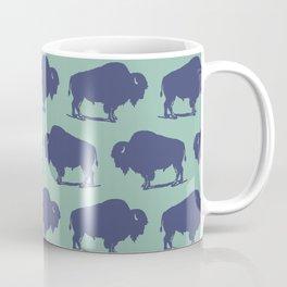 Buffalo Bison Pattern Blue and Turquoise Coffee Mug