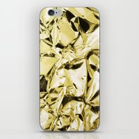 gold foil iPhone & iPod Skins featuring Gold foil by lamottedesign