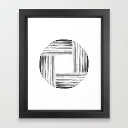 Black and Gray Ink Stripe Basket Weave Circle Framed Art Print