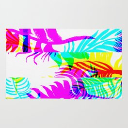 Glitch botany palm leaves set and summer jungle watercolor palm. Rug