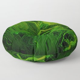 Green glowing circuit - by Brian Vegas Floor Pillow
