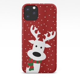 Reindeer in a snowy day (red) iPhone Case
