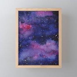 Watercolor Galaxy Nebula Pink Purple Sky Stars Framed Mini Art Print