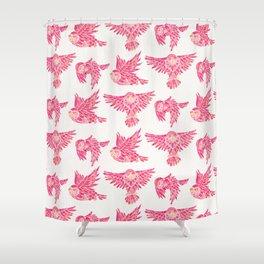 Owls in Flight – Pink Palette Shower Curtain