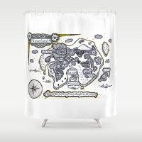 neverland Shower Curtains featuring Neverland Illustration  by Mark Karwowski