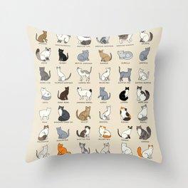 Cat Breeds Throw Pillow