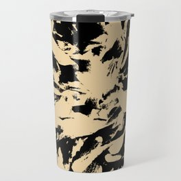Beige Yellow Black Abstract Military Camouflage Travel Mug