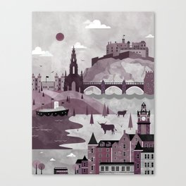 Edinburgh Travel Poster Illustration Canvas Print