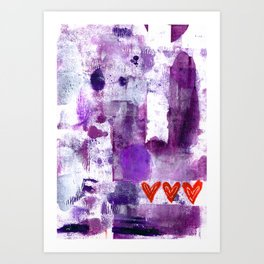 PURPLE ABSTRACT WITH HEARTS Art Print