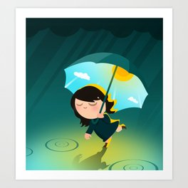 Happy umbrella Art Print