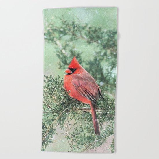 Christmas Bird (Northern Cardinal) Beach Towel