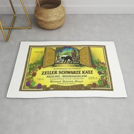 Vintage Zeller Cats Schwarze Riesling - Mosel Saar Ruwer Wine Bottle Label Print Rug