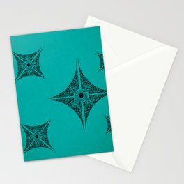 Pata Patterns in Black on Cyan Stationery Cards
