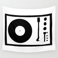 record Wall Tapestries featuring 'Record Player' by Ben Rowe