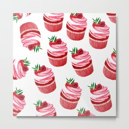 Red velvet cupcakes pattern Metal Print