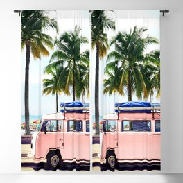 Pink Combi Van, Retro Camper Art Print By Synplus Blackout Curtain